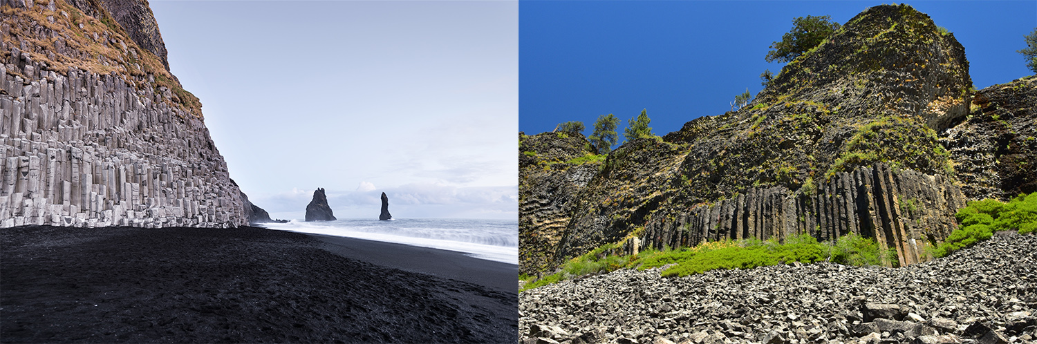 Mount Reynisfjall in Iceland from Shutterstock (left). Columns of the Giants in California by Ryan Hollister (right).