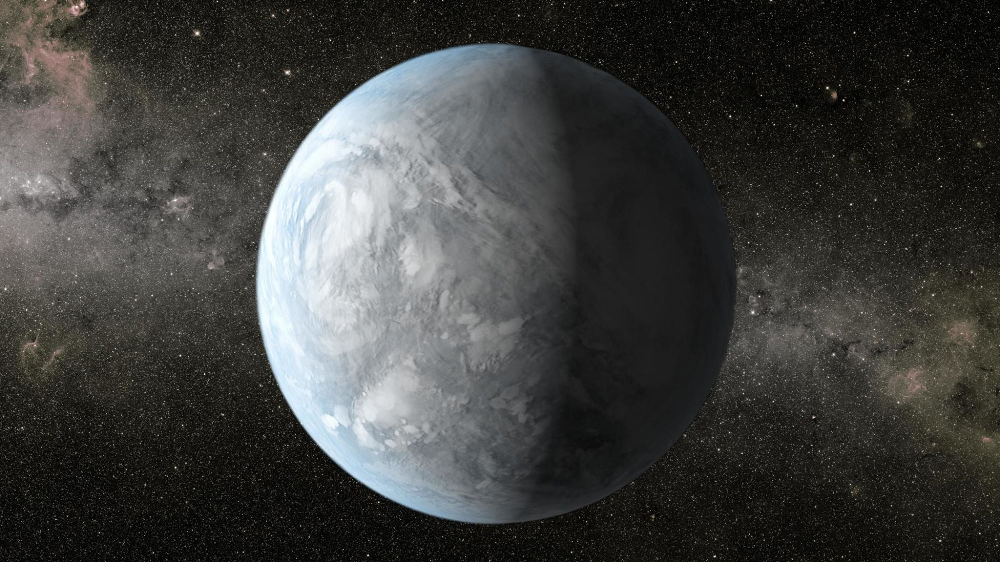 An artist's concept depicting Kepler-62e, a super-Earth-size planet in the habitable zone of a star smaller and cooler than the sun, located about 1,200 light-years from Earth in the constellation Lyra. Image: NASA/Ames/JPL-Caltech