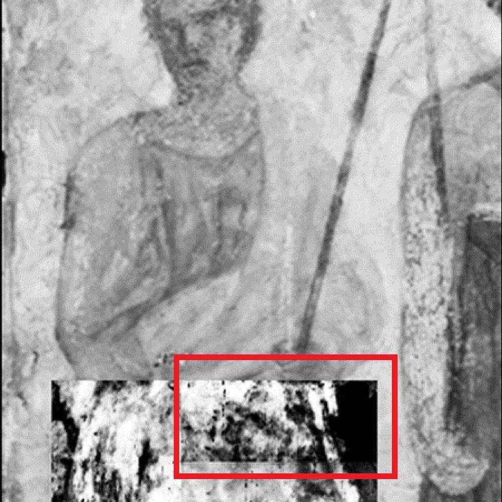 Using terahertz imaging, J. Bianca Jackson found what looked like a Roman face under the surface of a 19th-century fresco. Image courtesy of J. Bianca Jackson, Ph.D. and Dominique Martos-Levif