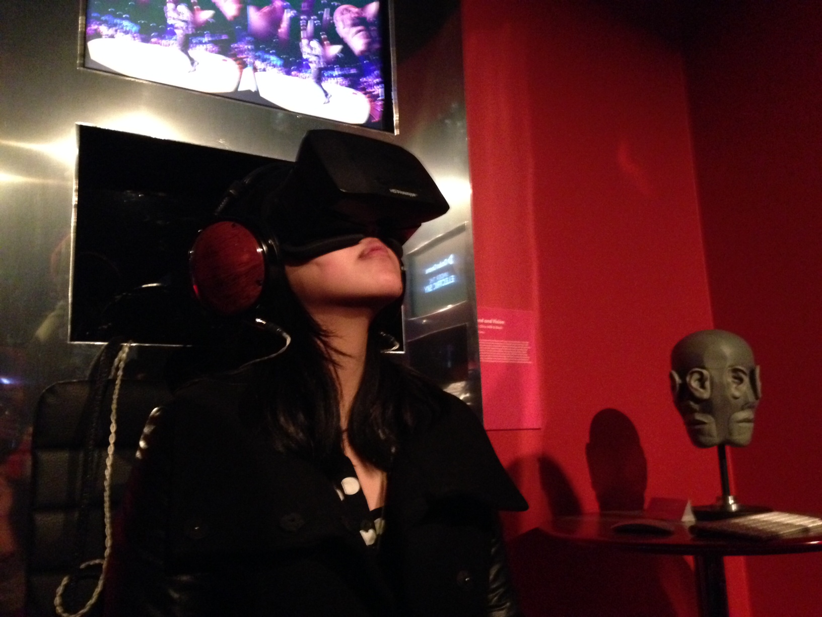 SciFri's Chau Tu testing out the Oculus Rift at the Sundance Film Festival. Photo by Joe Chen