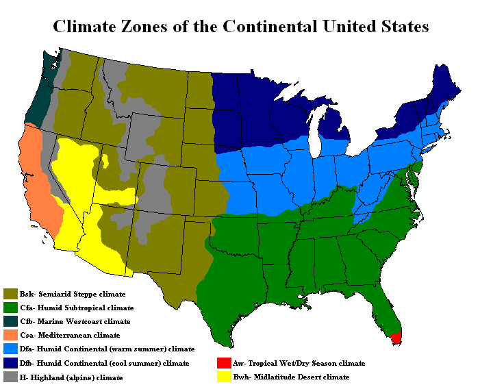 Climate Zones of US