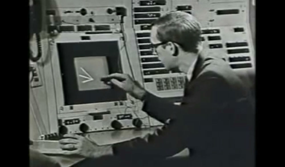 Screenshot from a demo by Ivan Sutherland, demonstrating the software he developed called Sketchpad.