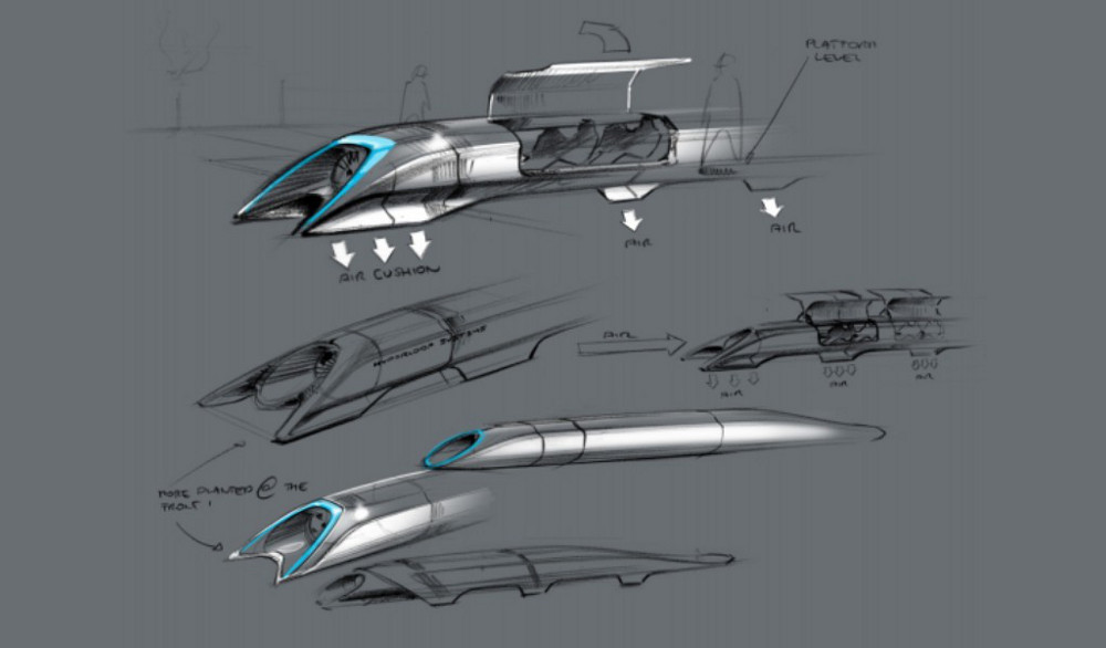 Hyperloop passenger transport capsule conceptual design sketch. Credit: Elon Musk
