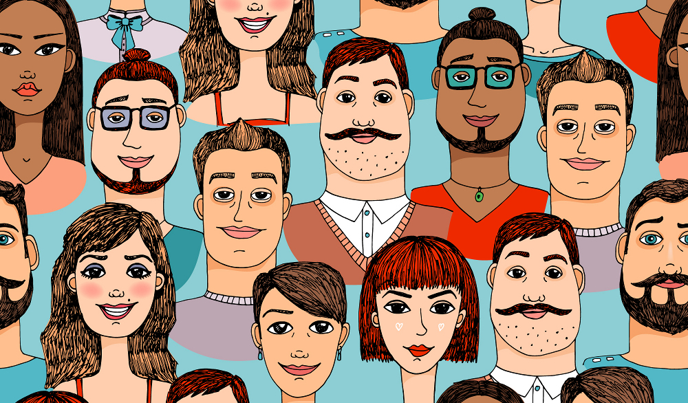 Female and male cartoon faces, from Shutterstock