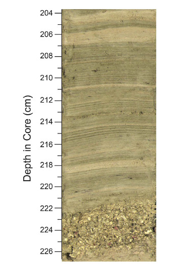 The researchers found multiple, thin layers of fine-grained sediment interspersed with thicker bands of coarser shell fragments in the blue hole cores. Courtesy of K. C. Denommee, S. J. Bentley, and A. W. Droxler/Nature Scientific Reports