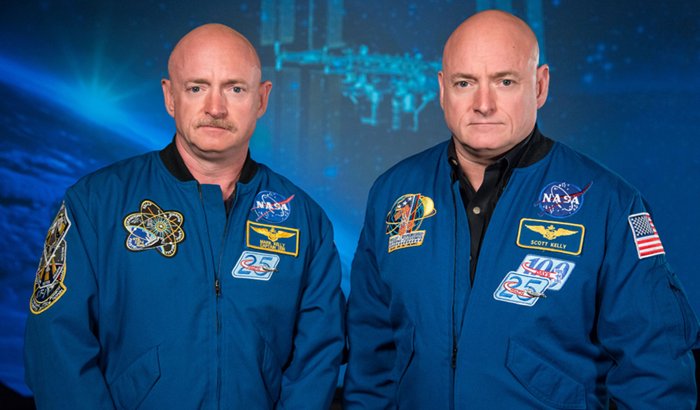 NASA Expedition 45/46 commander and astronaut Scott Kelly, along with his brother, former astronaut Mark Kelly, at the Johnson Space Center, Houston, Texas. Photo by Robert Markowitz/NASA