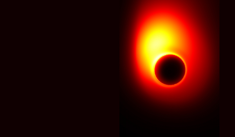 This image, created using computer models, shows how the extreme gravity of the black hole in M87 distorts the appearance of the jet near the event horizon. Part of the radiation from the jet is bent by gravity into a ring that is known as the 'shadow' of the black hole. Image courtesy of Avery E. Broderick (University of Waterloo & Perimeter