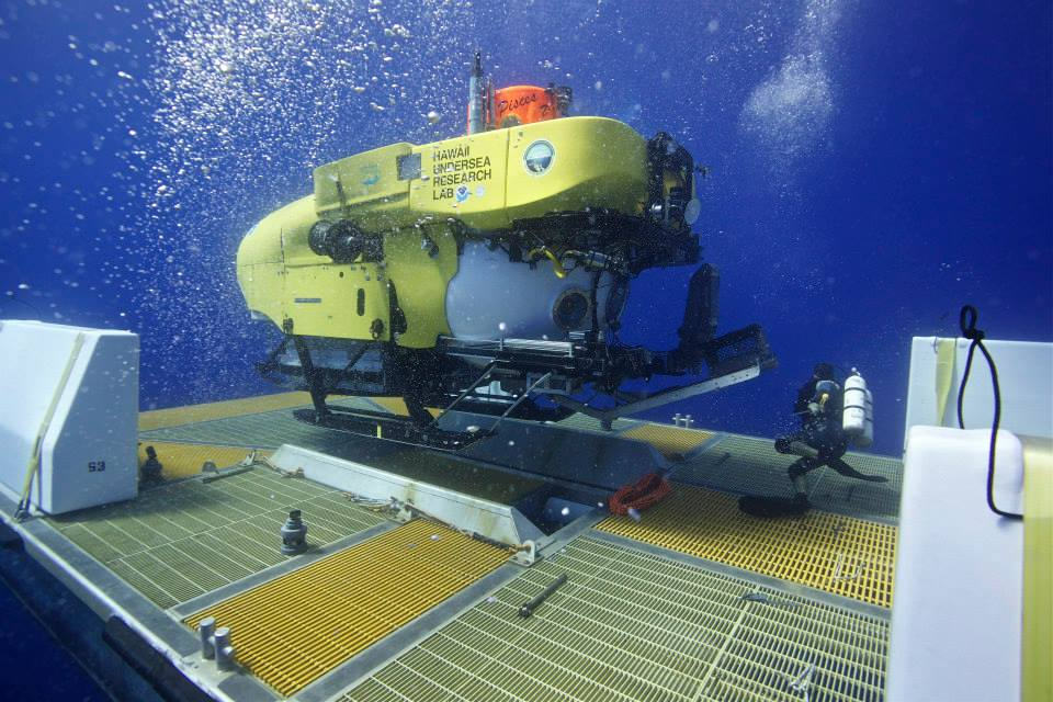 The Pisces V is one of two deep diving manned submersibles at the Hawai'i Undersea Research Laboratory (HURL) based in Oahu. It can operate at a depth of 2,000 meters, or 6,280 feet. Photo by HURL/Colin Wollerman