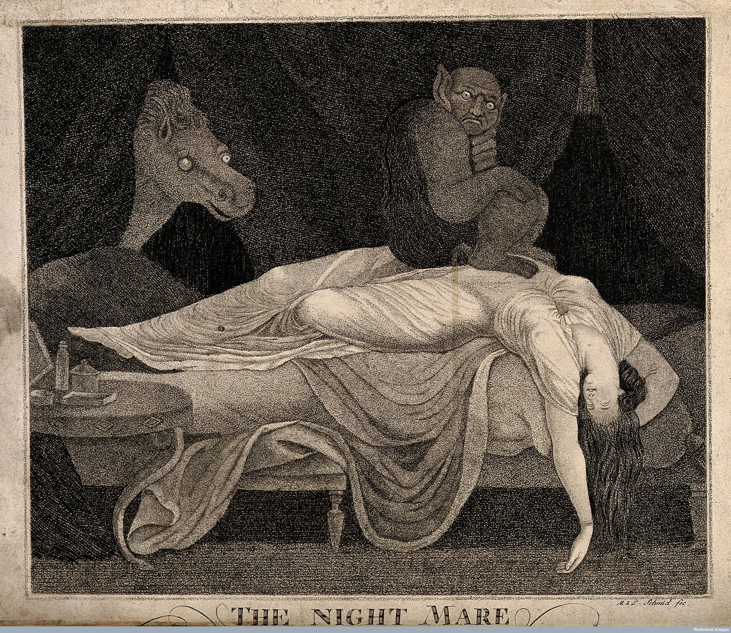 In this engraving by Martin Joachim Schmidt, a devil sits on a sleeping woman's stomach. Historically, sufferers of sleep paralysis often claimed it felt like a demon or witch was perched on their chest. Image courtesy of the Wellcome Library, London