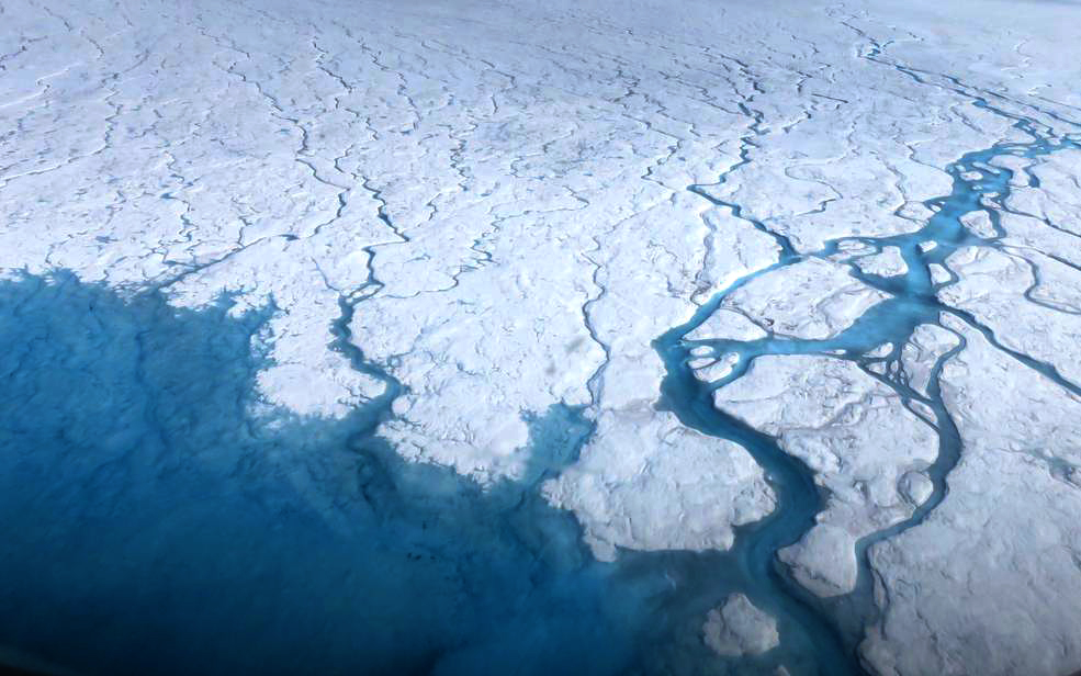 Streams and rivers that form on top of the Greenland ice sheet during spring and summer are the main agent transporting melt runoff from the ice sheet to the ocean. Credit: NASA/Goddard/Maria-José Viñas