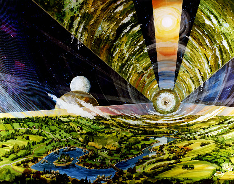 """""""Double Cylinder Settlement Interior,"""" by Rick Guidice, 1975. Image courtesy of NASA Ames Research Center and New Museum Los Gatos"""