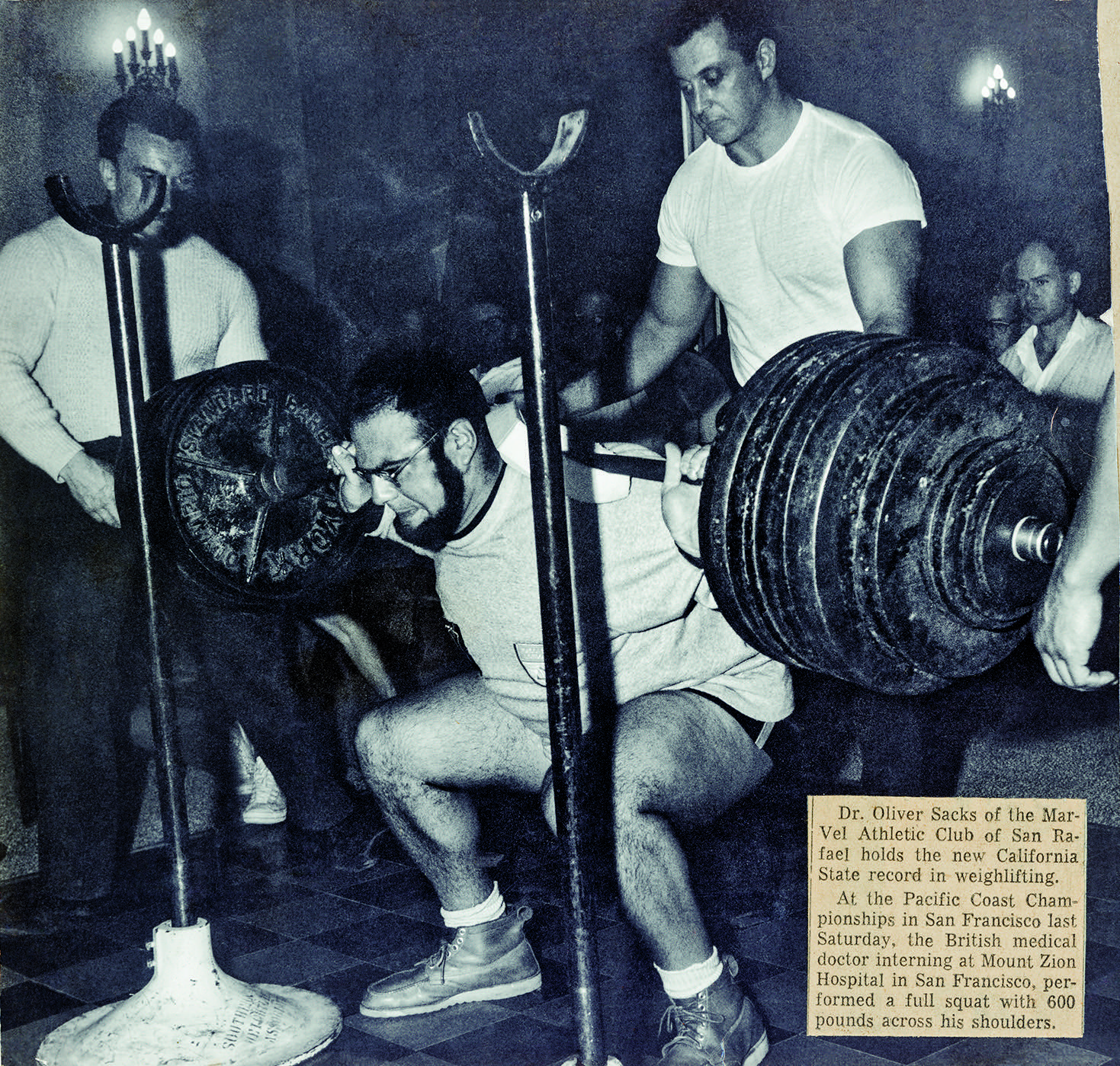 Sacks set a California state record in 1961, performing a full squat with 600 pounds. Photo courtesy of the Oliver Sacks Foundation.