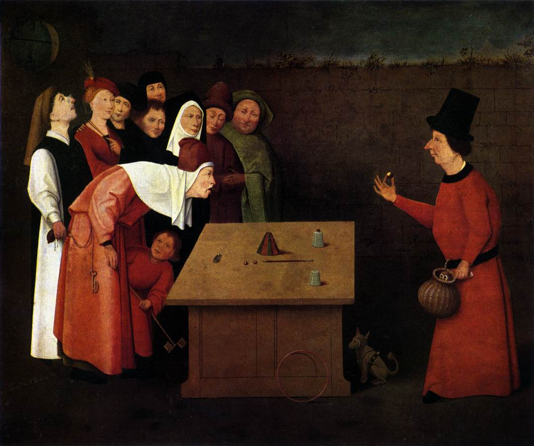 "Hieronymus Bosch's ""The Conjurer."" A magician performs the classic cup and balls routine, the basis for the infamous shell game. (Notice the gentleman being pickpocketed!) Via Wikimedia"