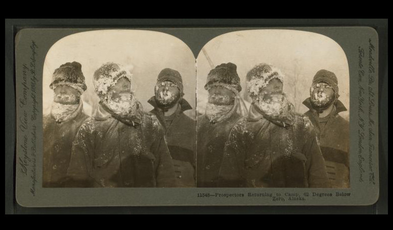 """Prospectors returning to camp. 62 degrees below zero, Alaska."" The Miriam and Ira D. Wallach Division of Art, Prints and Photographs: Photography Collection, The New York Public Library. (1898 - 1900)."