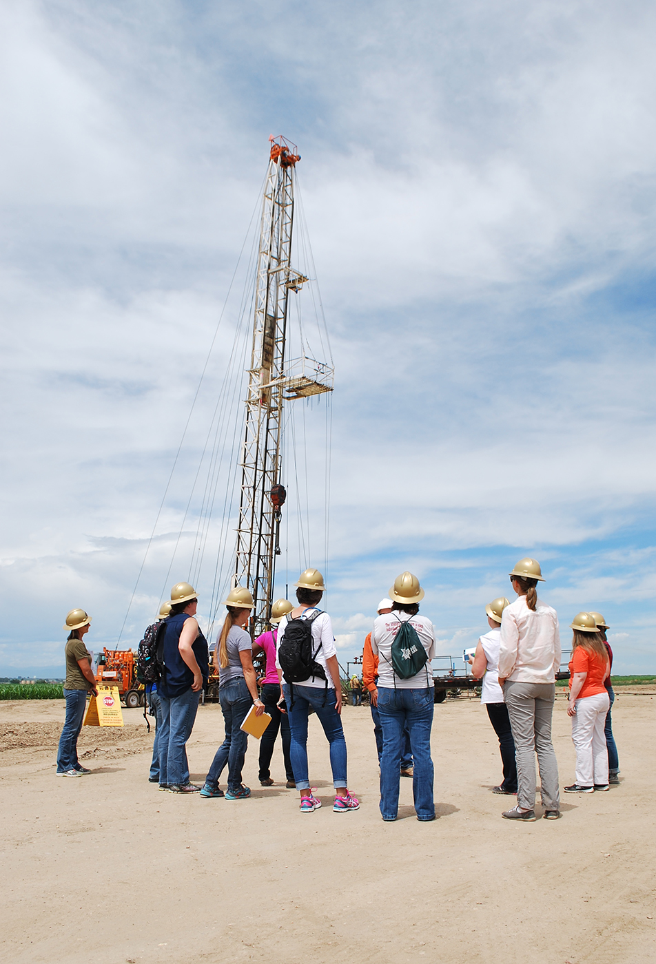The AirWaterGas teachers and researchers visited a well that was nearly completed in Weld County, Colorado.