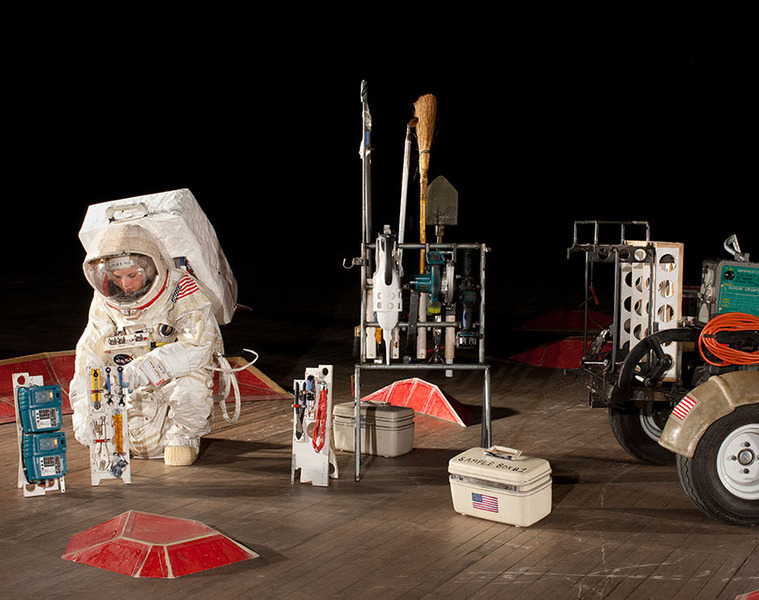 Astronaut Eannarino and the Handtool Palette Carrier (HTC). Image courtesy of Tom Sachs
