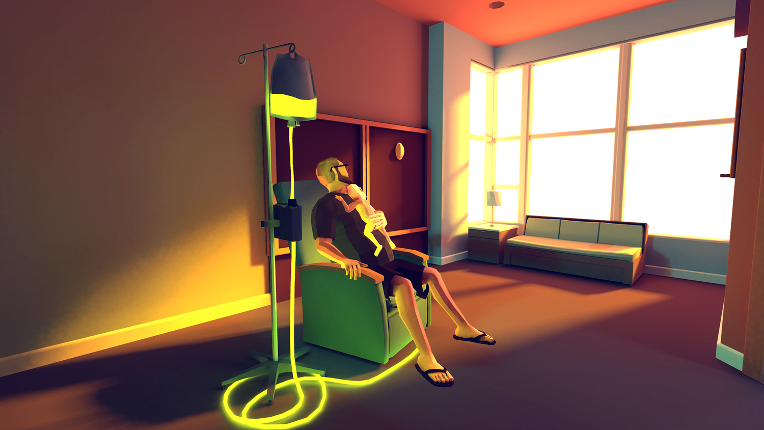 Ryan and Joel at the hospital, in a scene from That Dragon, Cancer. Image courtesy of The Dragon, Cancer and Numinous Games