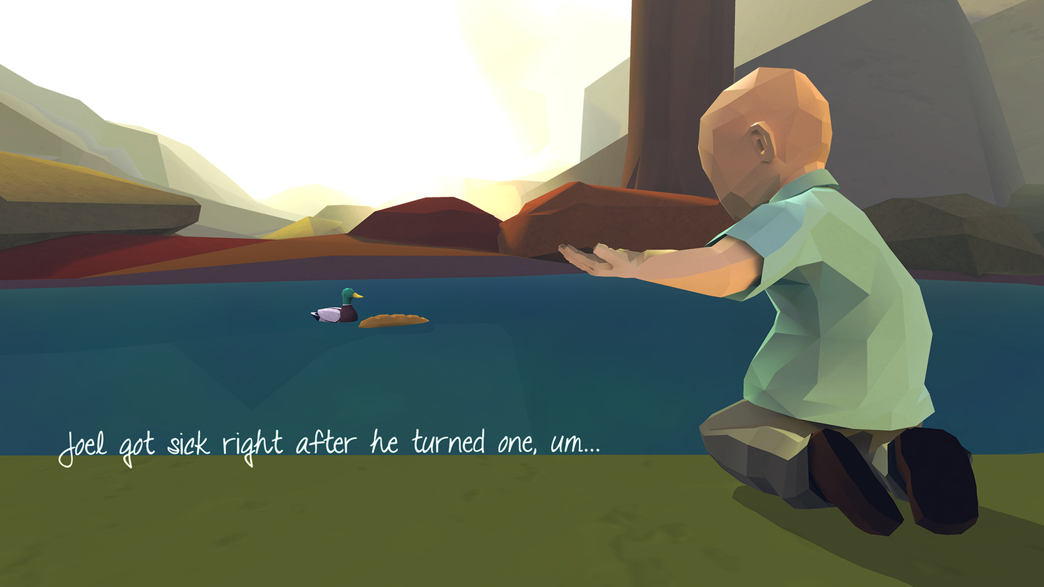 Joel gestures for more bread to throw to a duck in the park. Image courtesy of The Dragon, Cancer and Numinous Games