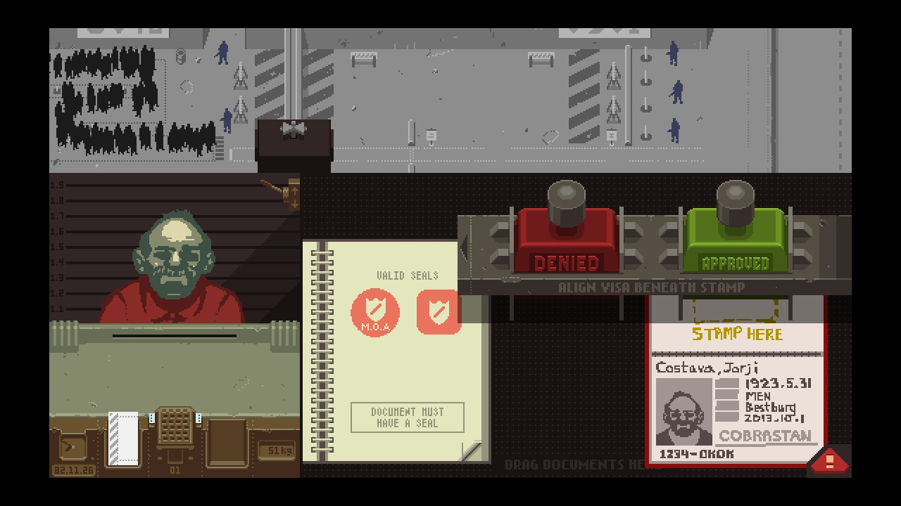 """A view of my inspector's booth in Papers, Please. Jorgi Costava's passport appears to be handmade, earning him a red """"Denied"""" stamp. Nice try, Jorgi. Image courtesy of Papers, Please by Lucas Pope."""