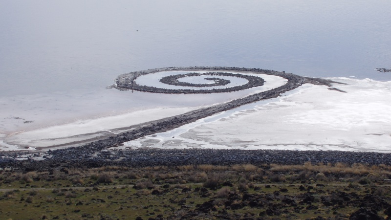 """Spiral Jetty"" in mid-April 2005. {PD}"