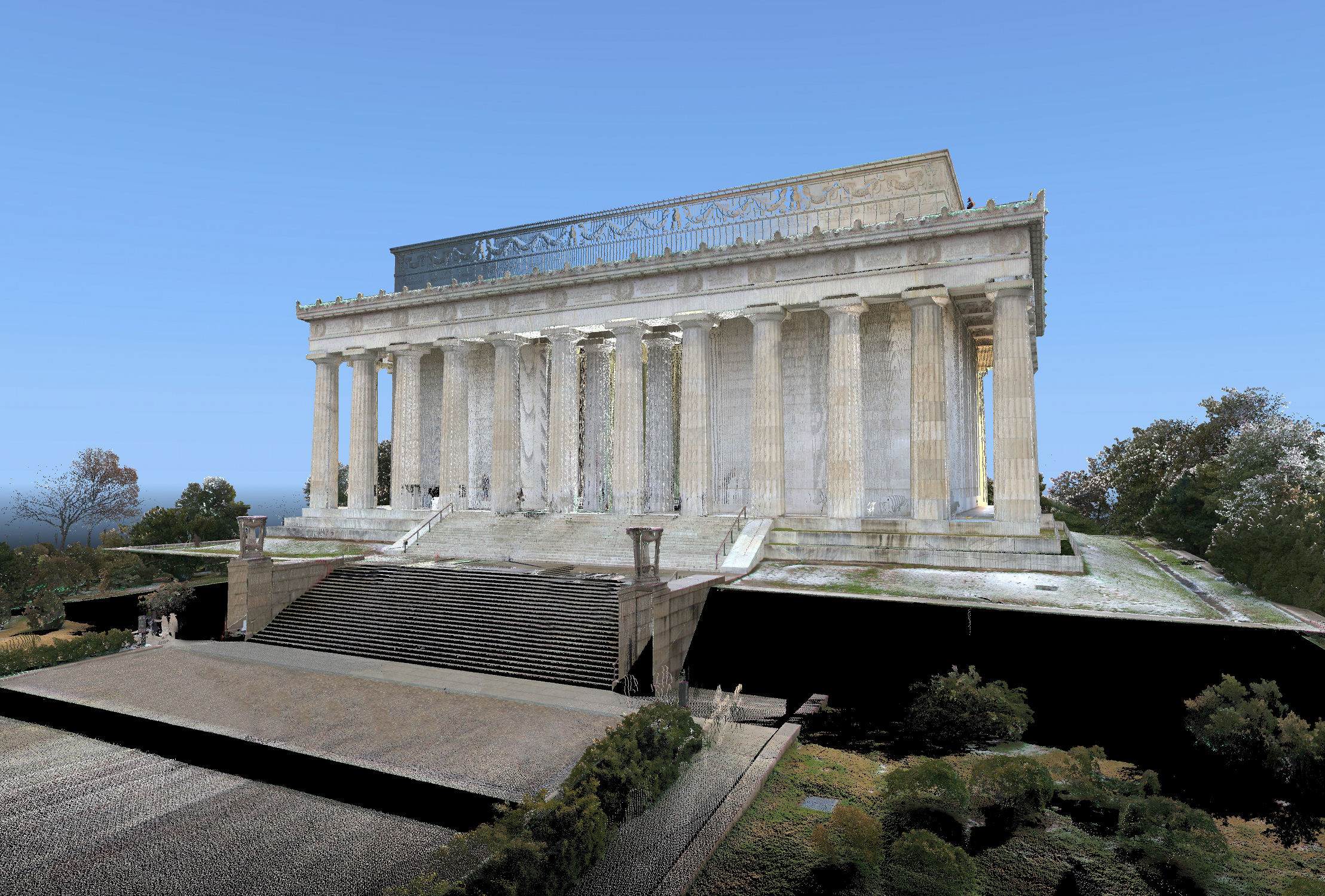 Laser scan data with RBG coloring of the Lincoln Memorial. Image by CyArk and DJS