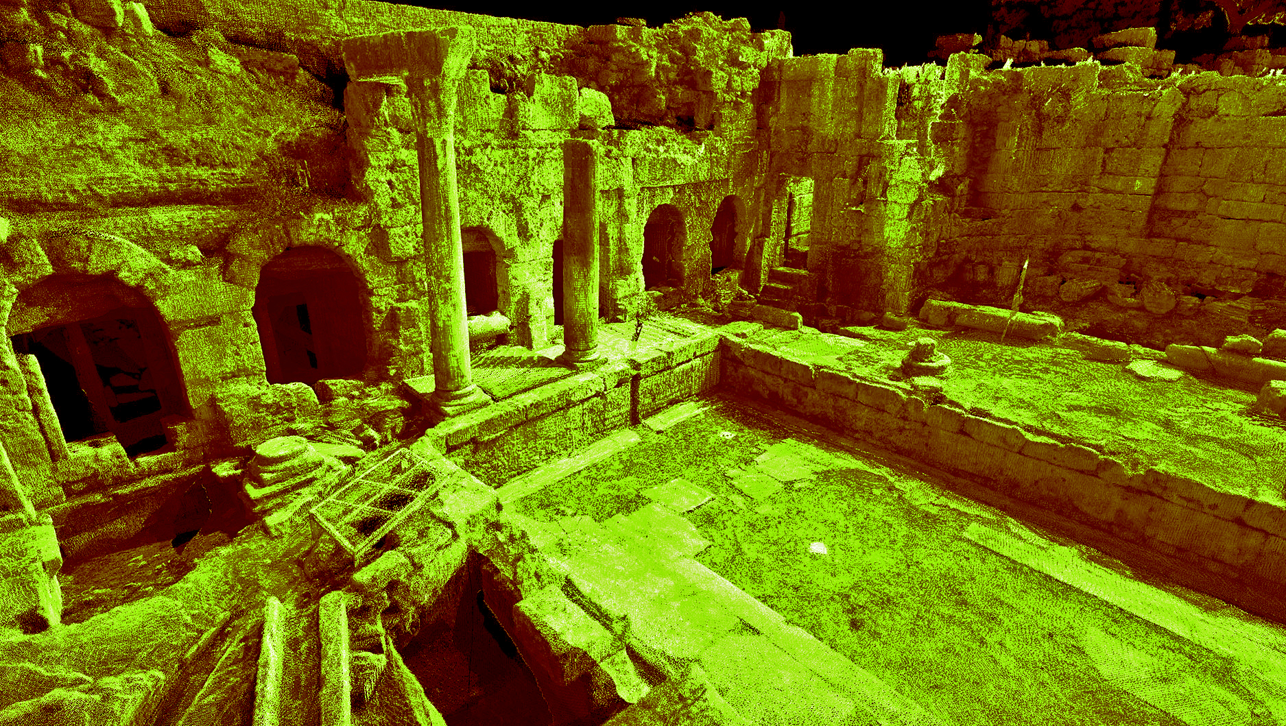 Laser scan data of the Peirene Fountain at Ancient Corinth in Greece. Image by CyArk