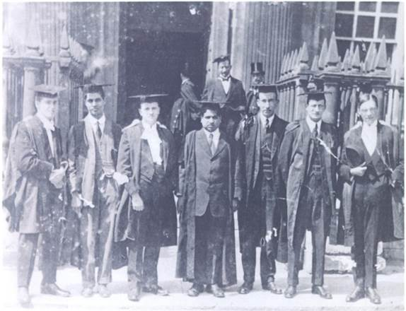 Ramanujan at Cambridge. Ramanujan is at center, his collaborator G.H. Hardy stands at the far right.