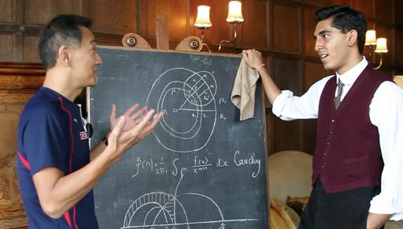 "Ken Ono and Dev Patel rehearse a scene on the set of ""The Man Who Knew Infinity,"" a biopic about Ramanujan, Photo by Sam Pressman"