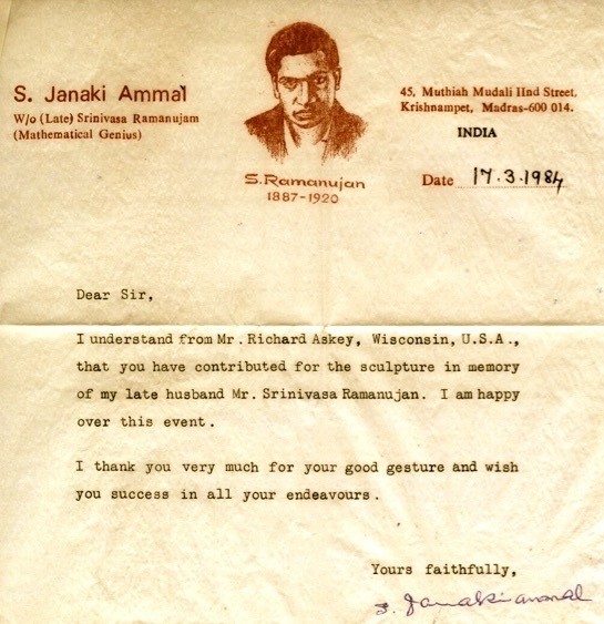 The letter Ken Ono's father received from Ramanujan's widow, Janaki Ammal, Courtesy of Ken Ono