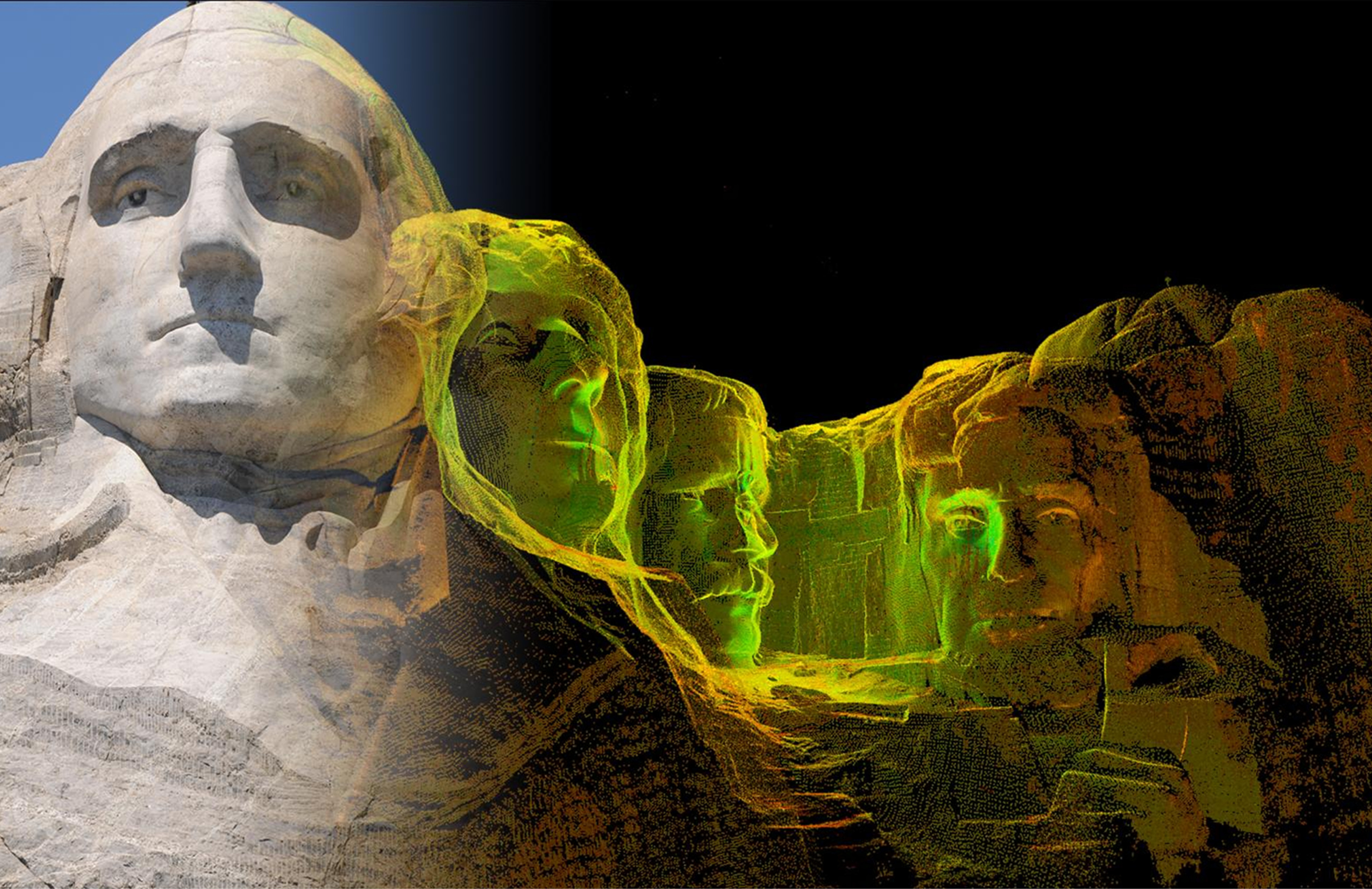 Laser scan in CyArk's archive from field work done at Mount Rushmore in the U.S. Image by CyArk