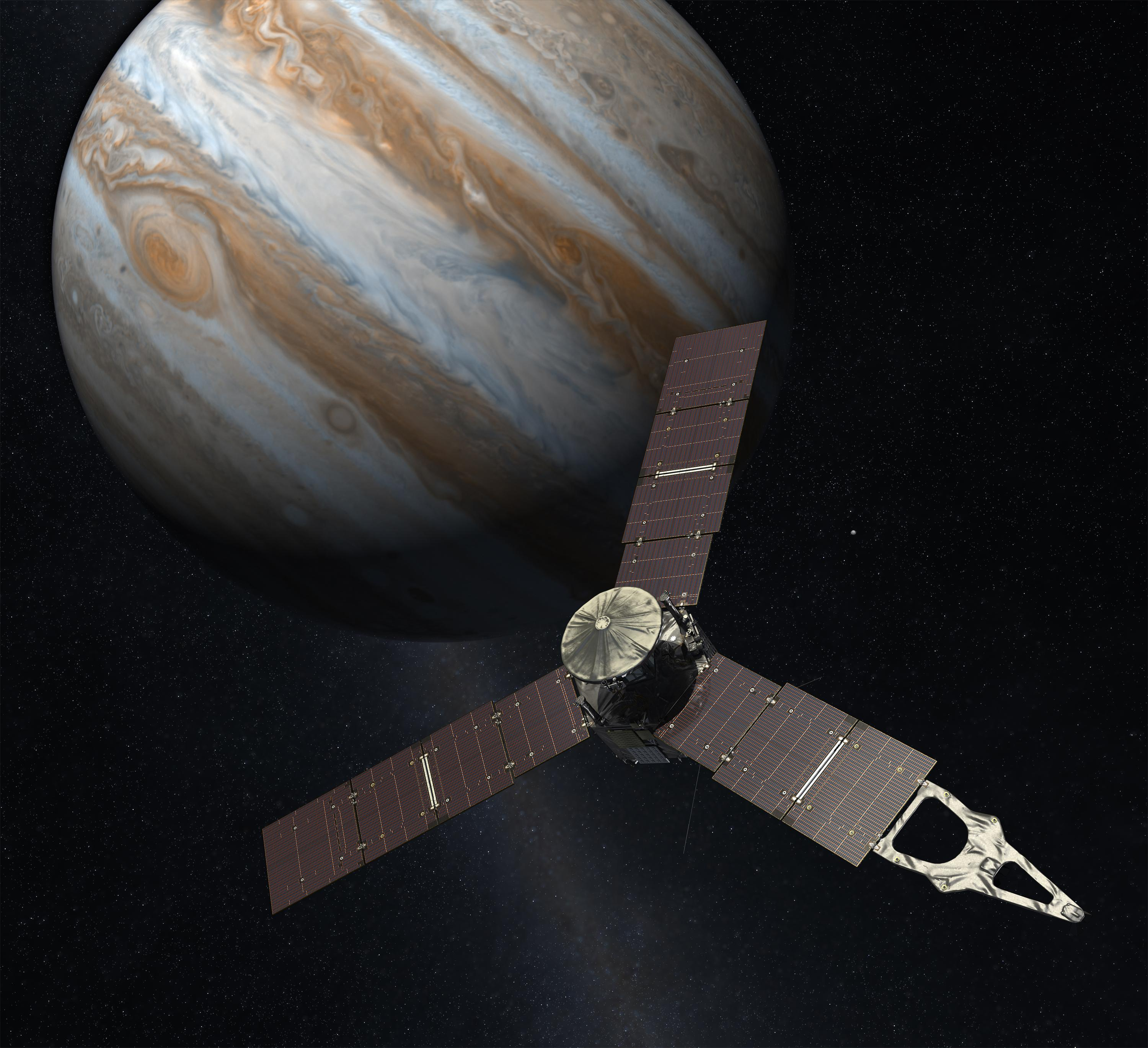 An artist's rendering of Juno approaching Jupiter. Credit: NASA/JPL-Caltech