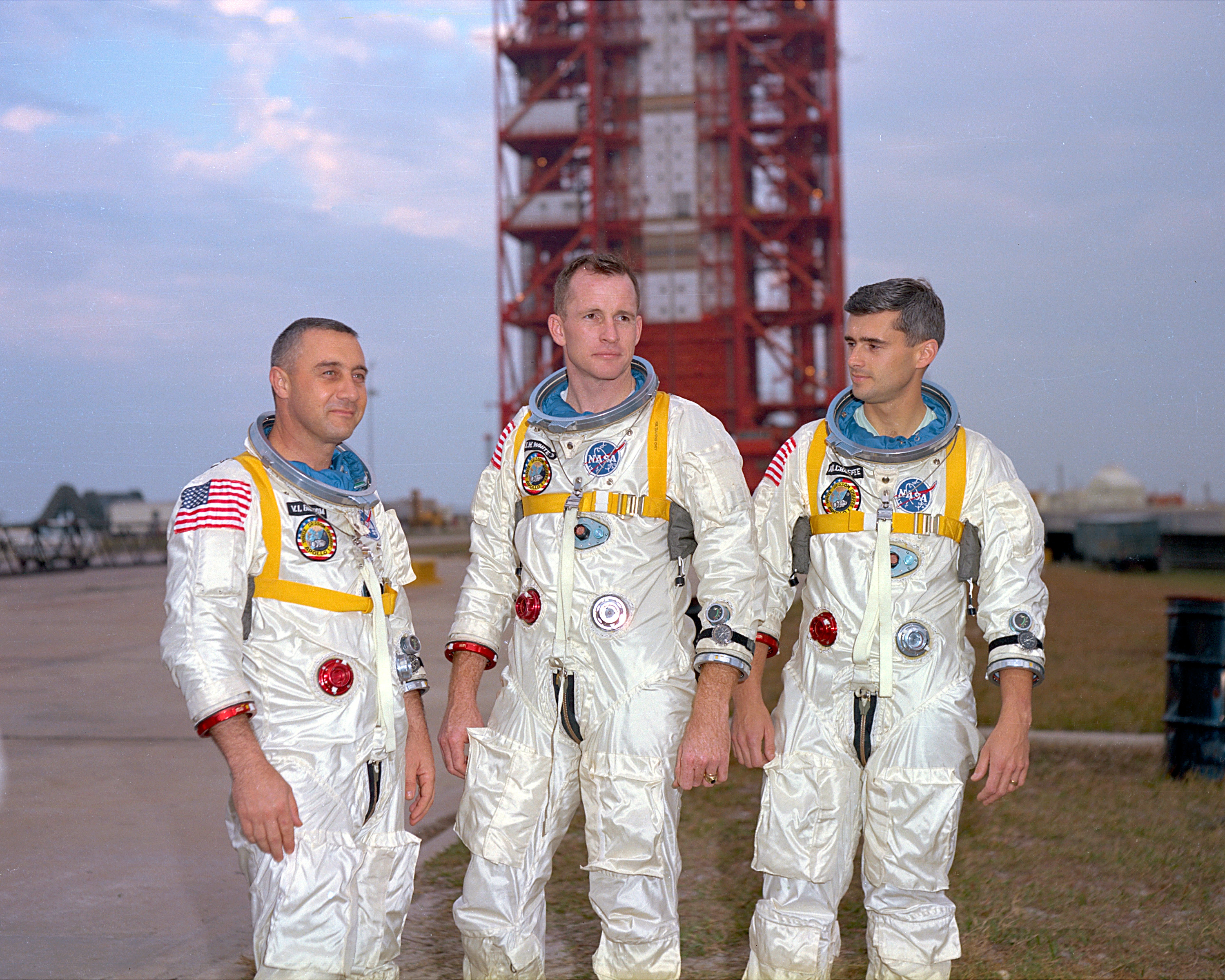 Astronauts Virgil Grissom, Edward White and Roger Chaffee were killed in the Apollo 1 fire. Credit: NASA