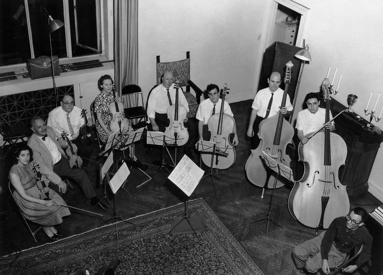 The first trial of the Hutchins violin octet, on May 24, 1964. Courtesy of the Hutchins estate.