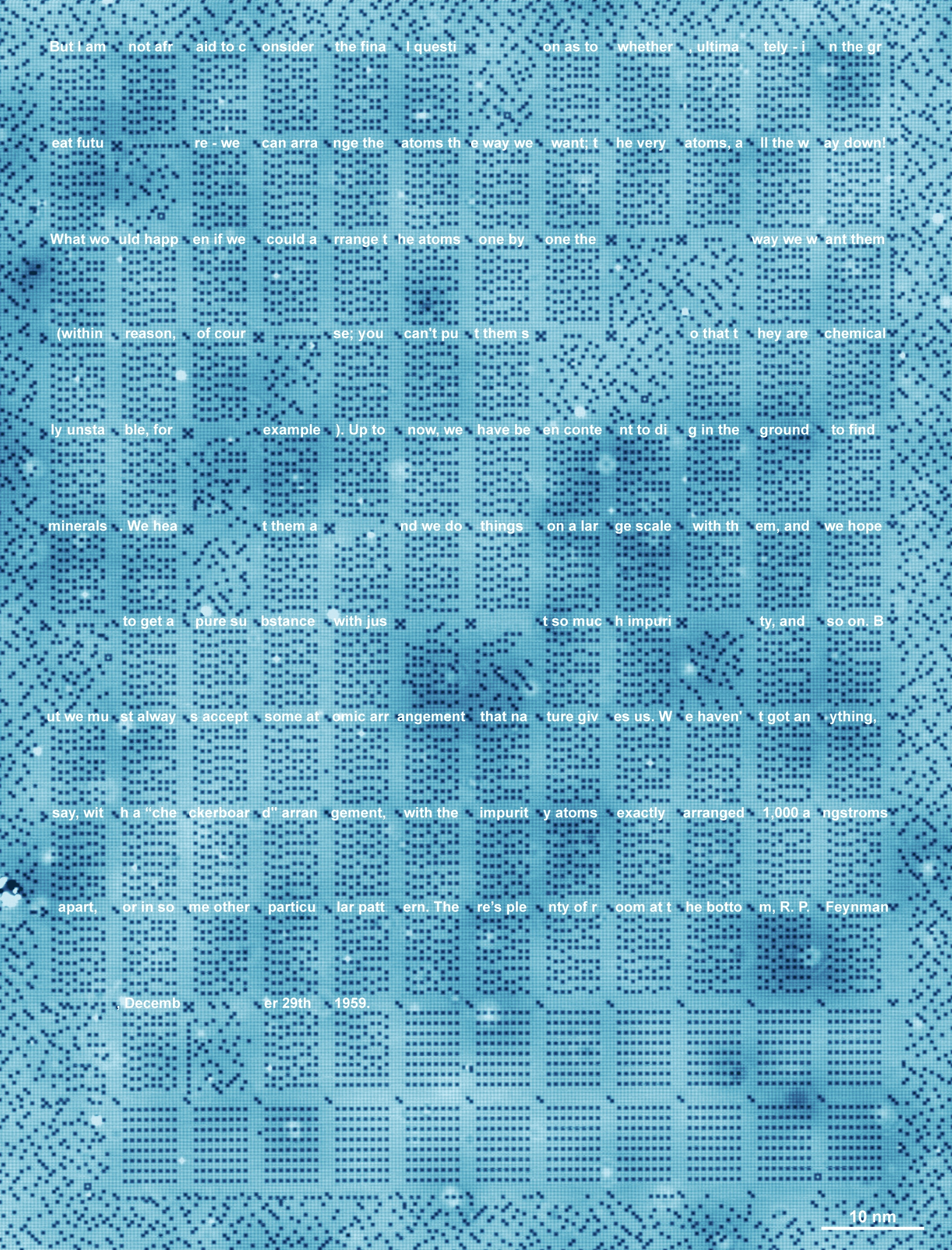 STM scan (96 nm wide, 126 nm tall) of the 1 kB memory, written to a section of Feynman's lecture 'There's Plenty of Room at the Bottom' (with text markup). Credit: Image courtesy of TU Delft