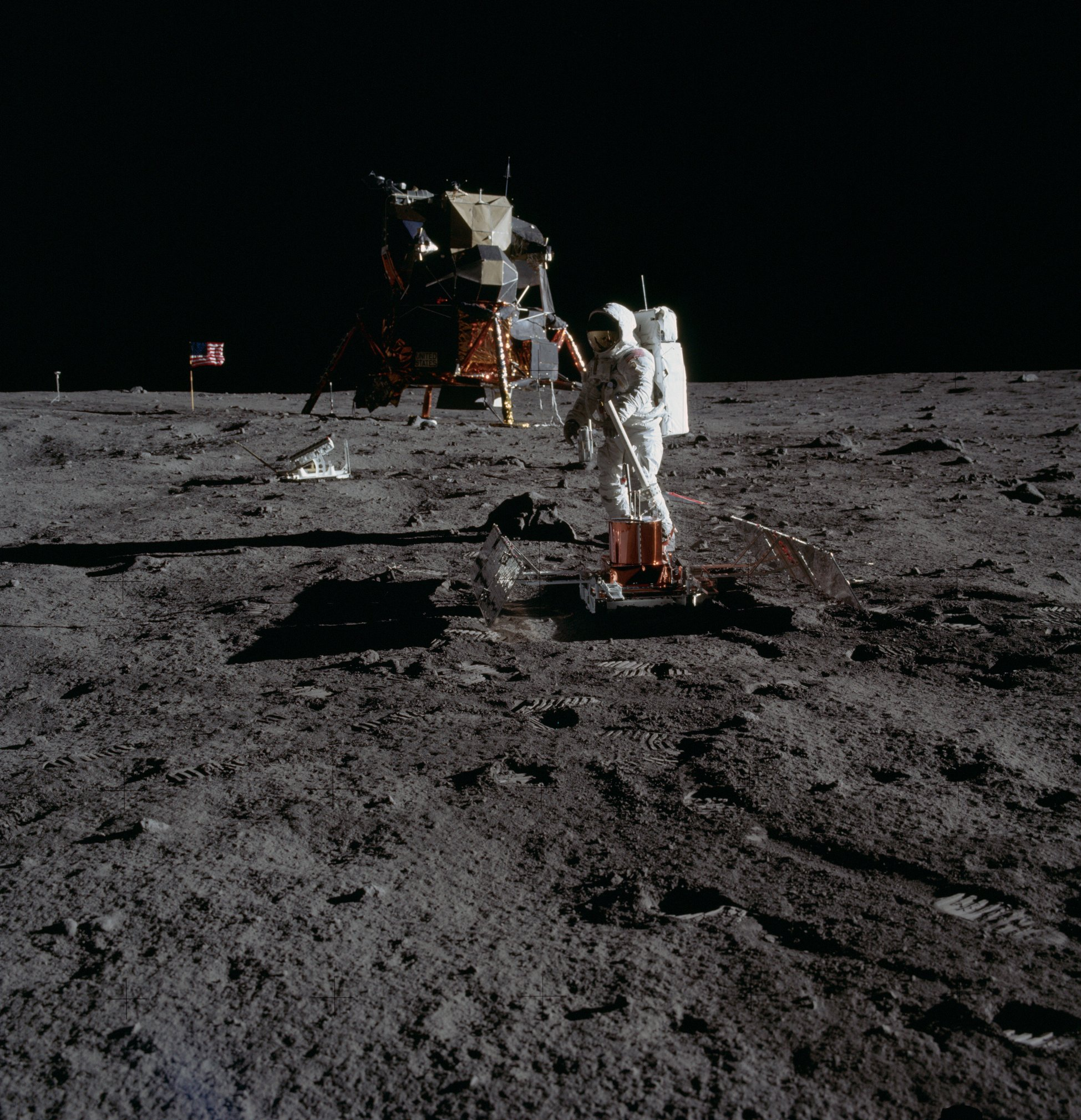 Astronaut Buzz Aldrin, levels the Passive Seismic Experiments Package PSEP. Image taken at Tranquility Base during the Apollo 11 Mission. Credit: NASA