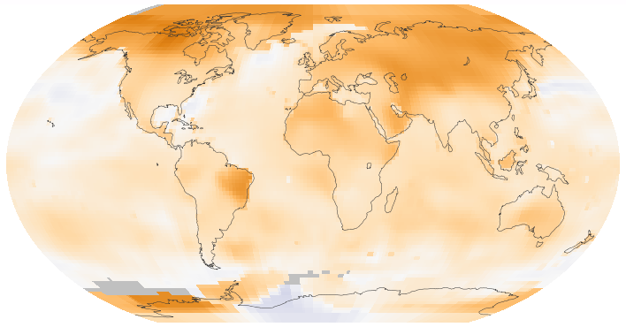 This map of the Earth shows surface temperature trends between 1950 and 2014. Credit: Wikipedia/Creative Commons