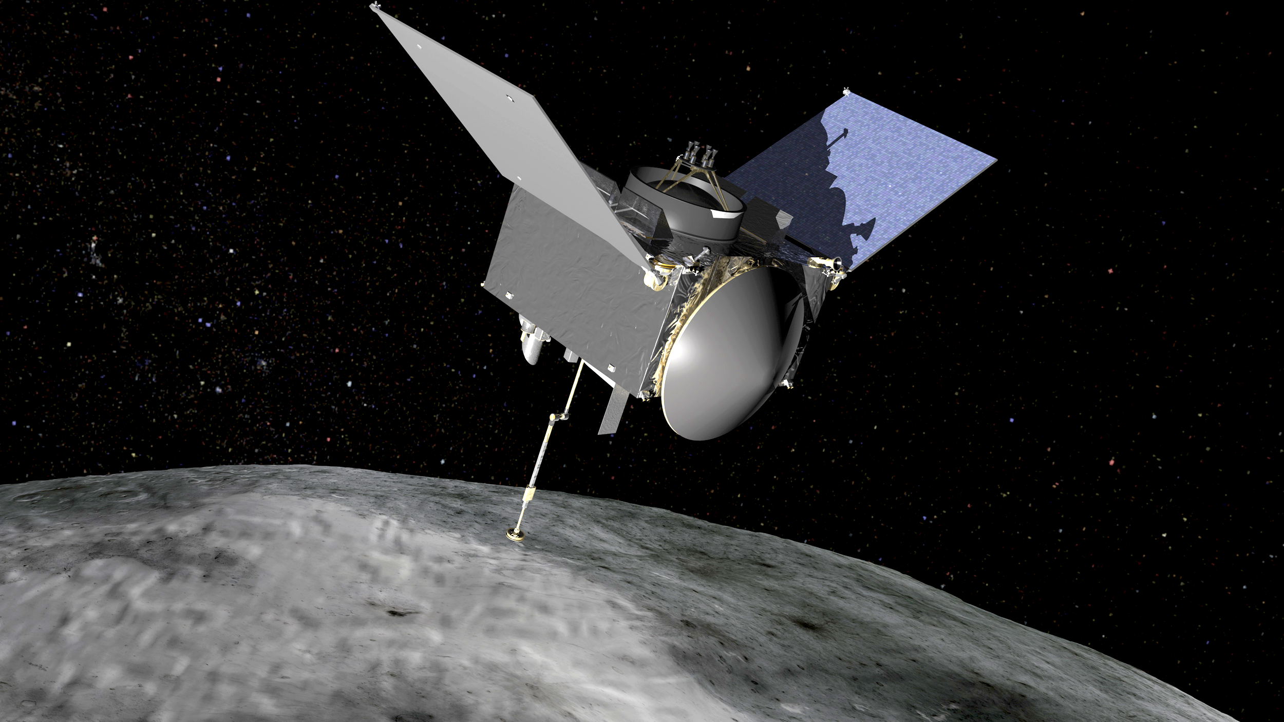 In this rendering, OSIRIS-REx extends its sampling arm as it moves in to make contact with the asteroid Bennu. Credit: NASA