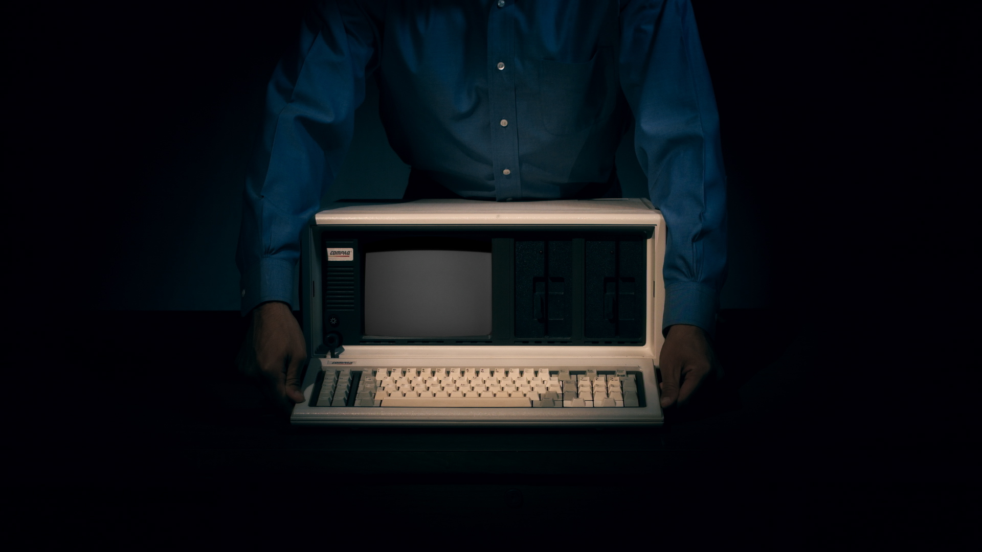 The Compaq portable computer. Credit: Svetlana Cvetko. Courtesy of FilmRise.