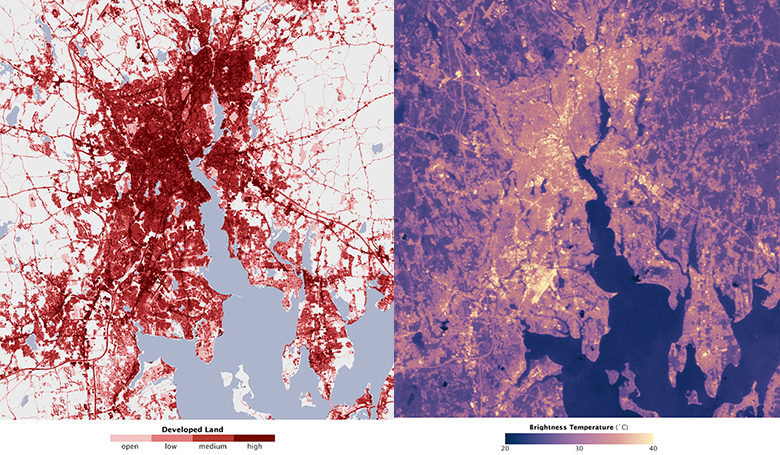 Satellite-produced maps of Providence and Buffalo highlight the role that differences in development patterns and vegetation cover can have on the magnitude of a city's urban heat island. Though the two cities have the same approximate size, Providence has a significantly stronger heat island. Credit: NASA/Earth Observatory