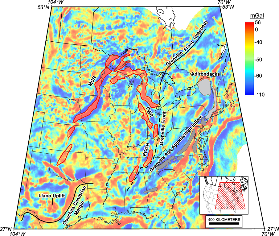 Gravity map of the Midcontinent Rift. Credit: Stein et al. 2014