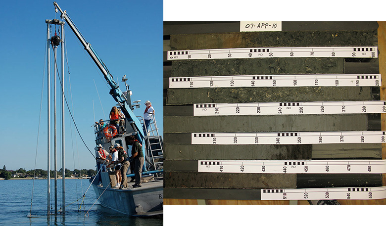 Collecting sediment cores offshore of the Mississipi Barrier Islands (left) and a sediment core sample taken from Apalachicola Bay, Florida cut into segments, then halved lengthwise (right). Credit: USGS