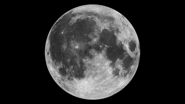 This composite image of the moon using Clementine data from 1994 is the view we are most likely to see when the moon is full. Credit: NASA