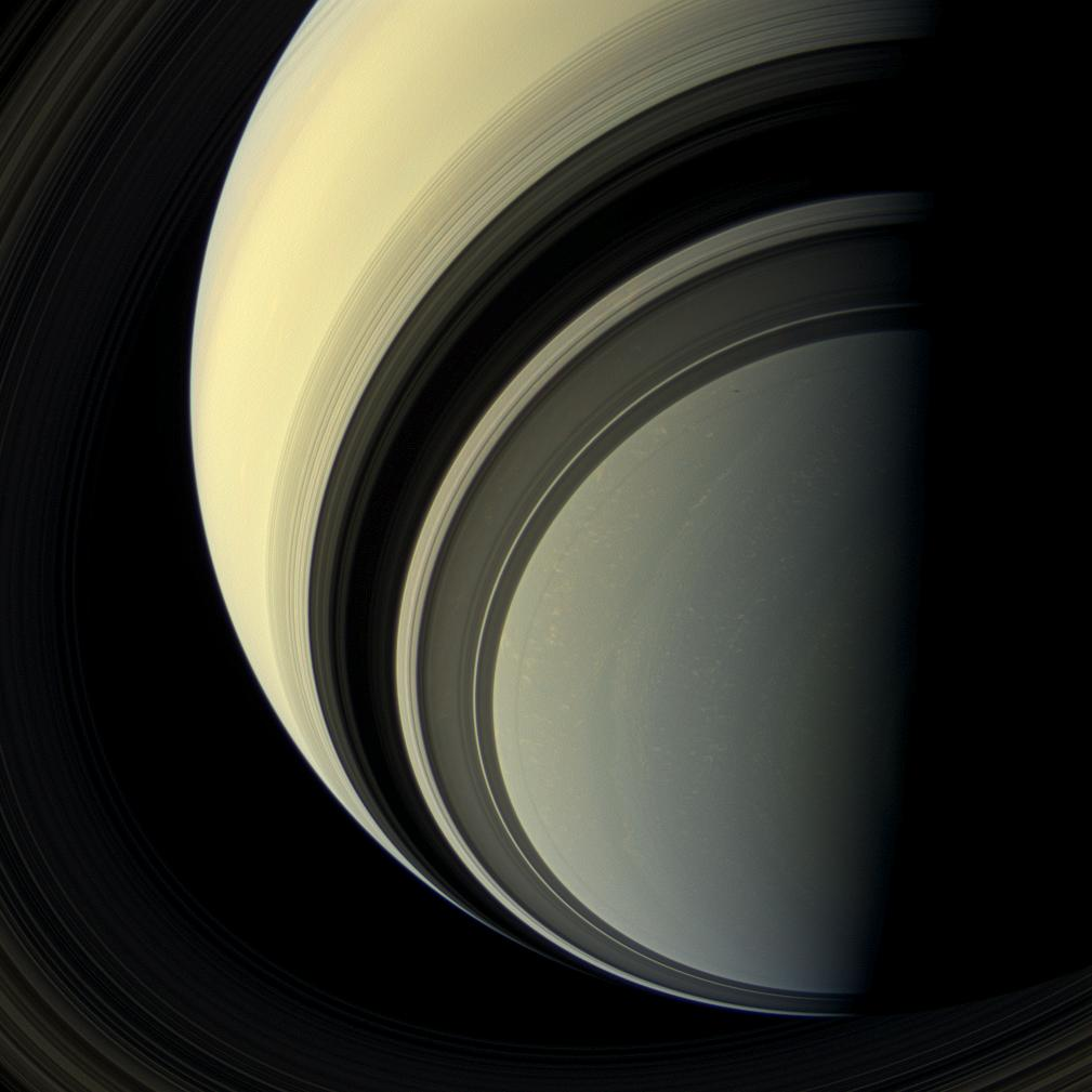 This natural color view looks toward the unilluminated side of the rings. Credit: NASA/JPL-Caltech/Space Science Institute