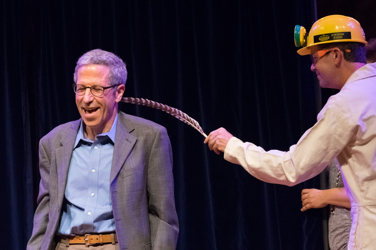 Nobel Laureate Eric Maskin, with Eric Workman and a feather. Credit: Howard I Cannon