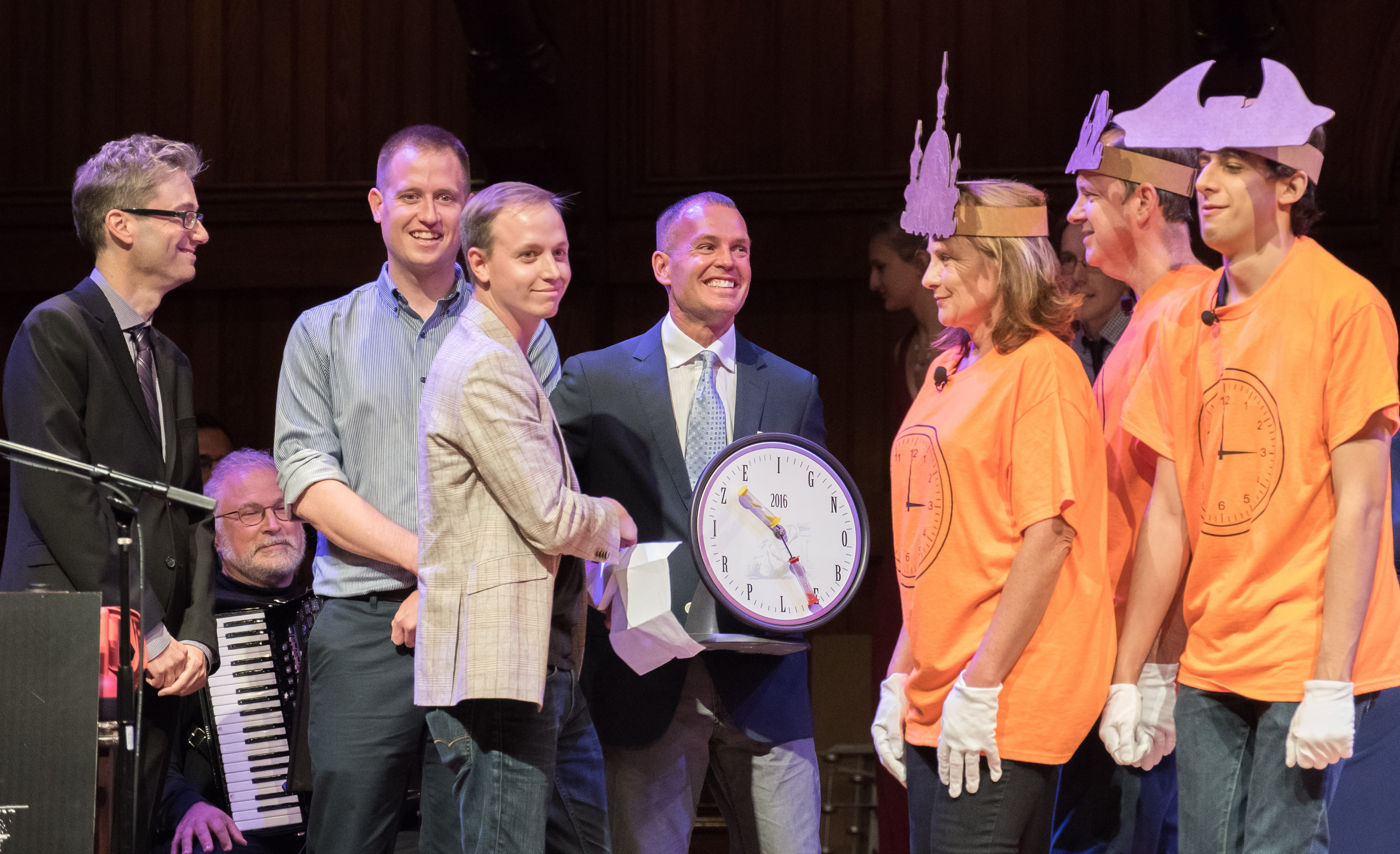 Peace Prize winners Derek Koehler, Nathaniel Barr, Gordon Pennycook, and Jonathan Fugelsang, and the Human Clocks. Credit: Alexey Eliseev