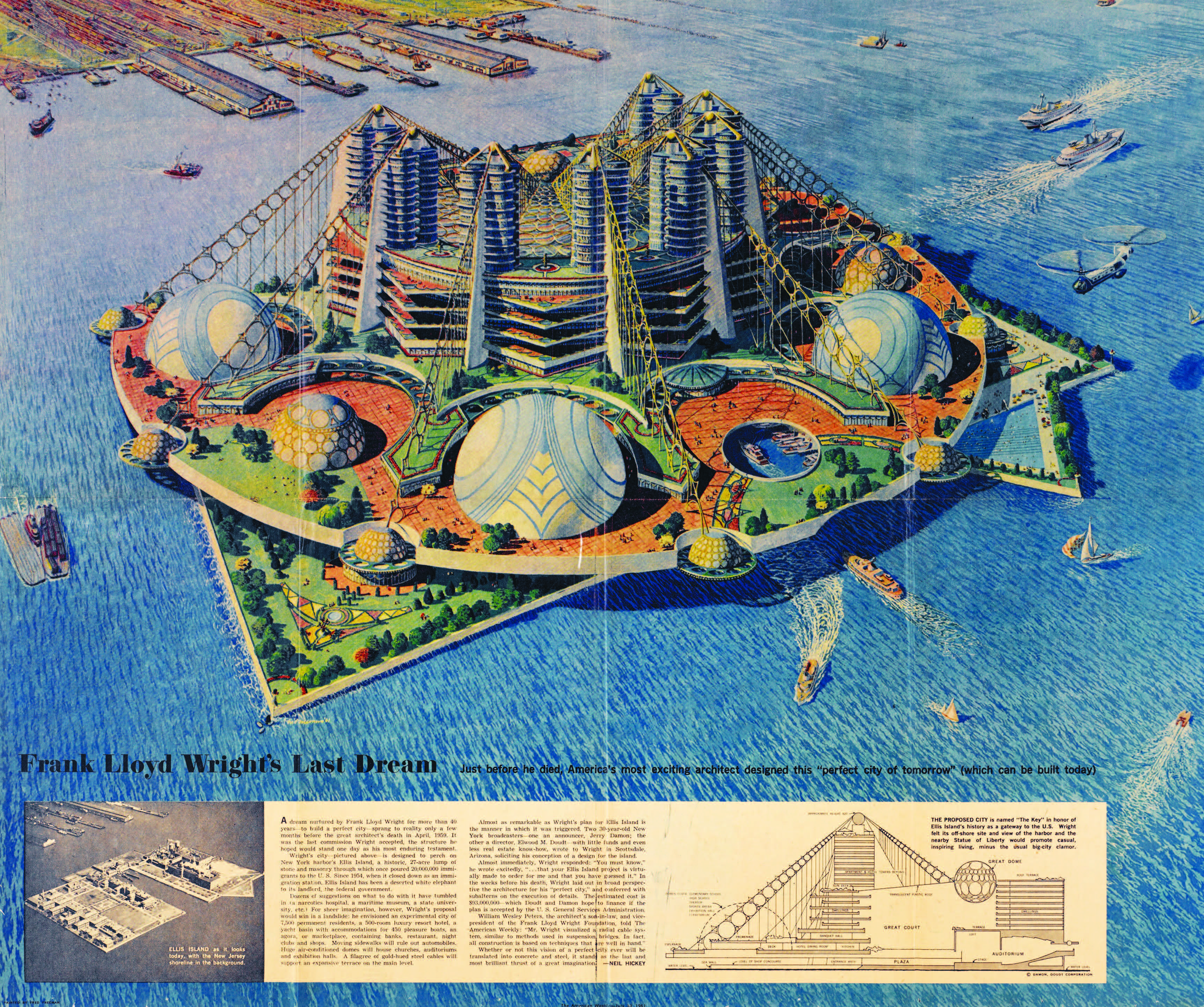 "Frank Lloyd Wright's plan for the decommissioned Ellis Island would promote ""casual, inspired living, minus the usual big-city clamour."" Credit: American Weekly, July 30, 1961"