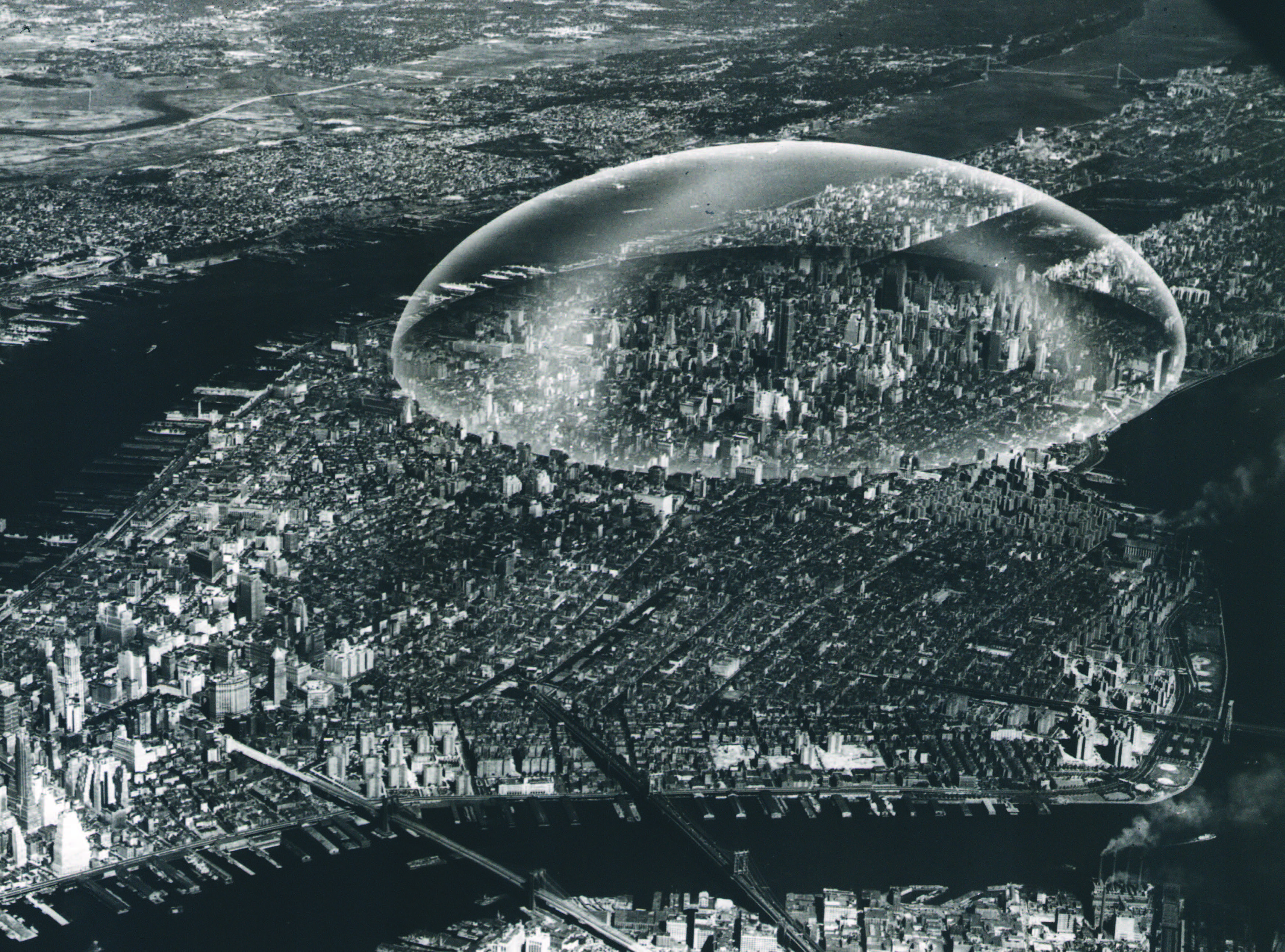 "R. Buckminster Fuller's ""Dome Over Manhattan."" It would have spanned a two mile diameter, from 29th to 62nd street, and would have been three times the height of the Empire State Building. Credit: Stanford University Libraries"