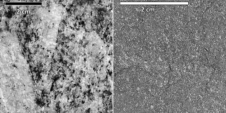 An example of a coarse-grained igneous rock (left) and an example of a fine-grained igneous rock (right). Credit: Ryan Hollister.