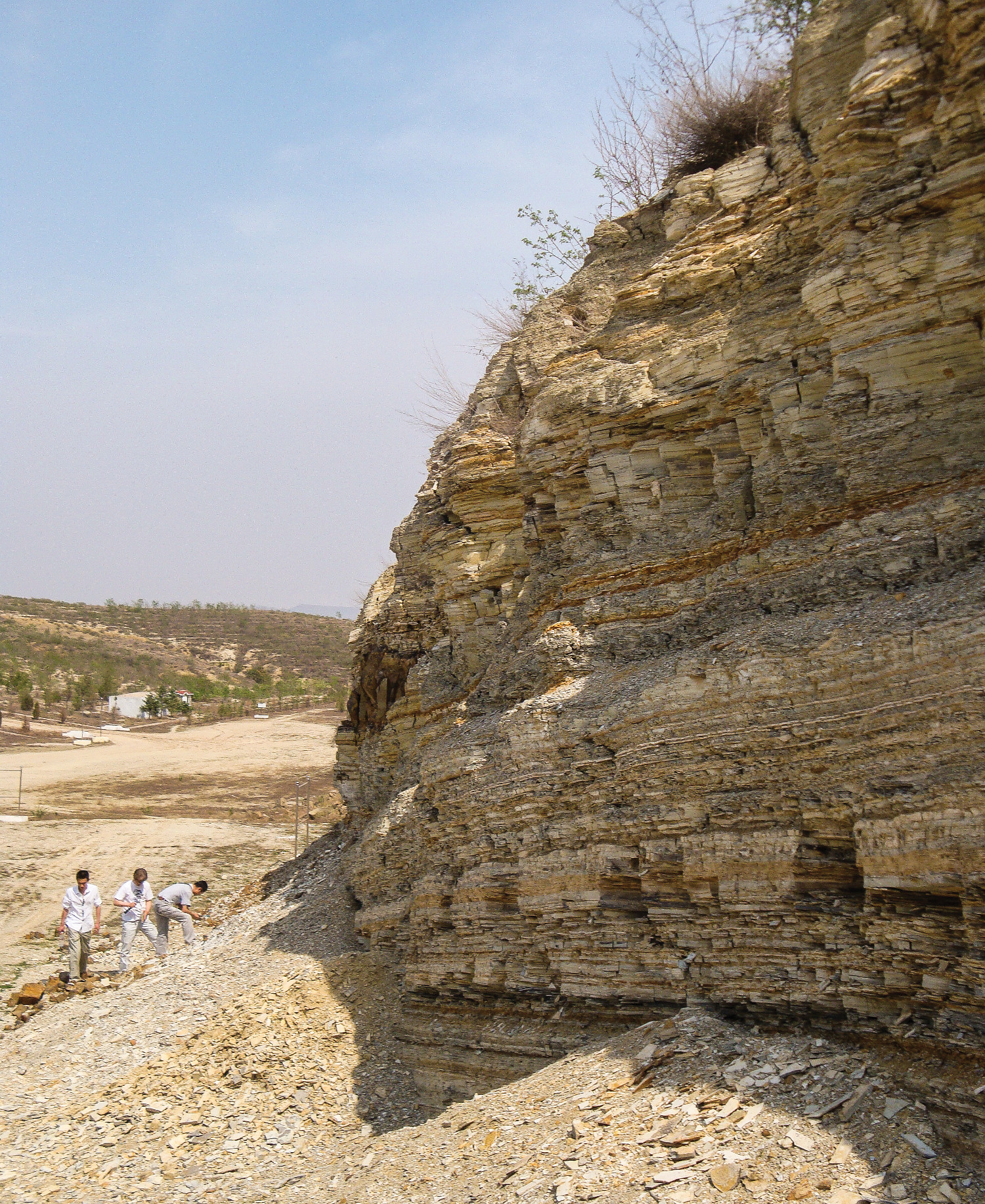 "Fossil hunters have found many well preserved specimens from the multicolored shale formations in quarries around Sihetun, a village in the countryside of Liaoning Province. Photo by Stephanie Abramowicz, from ""Birds of Stone"""