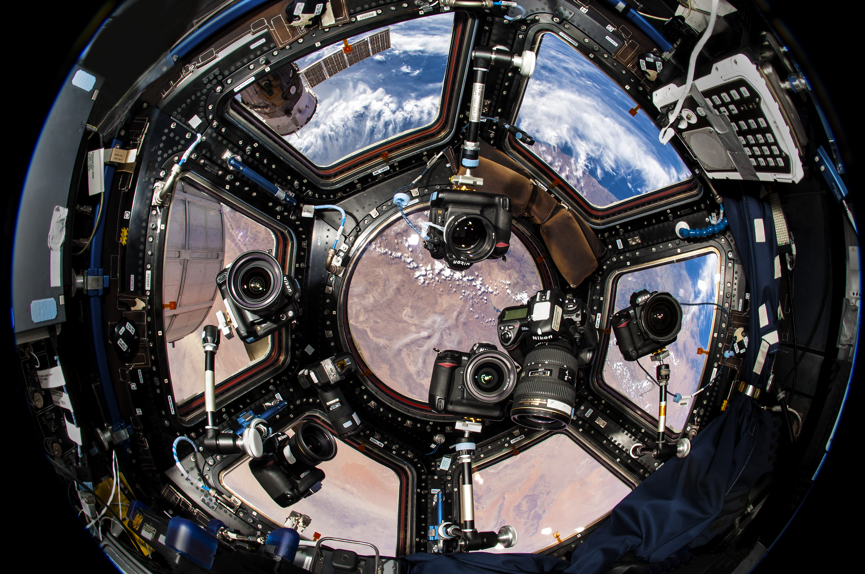 Cameras in the Cupola. Credit: Donald Pettit/NASA